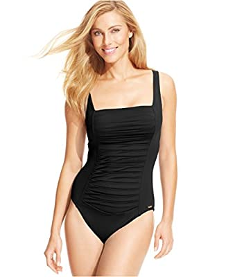 Calvin Klein Ruched-Panel One-Piece Swimsuit Black