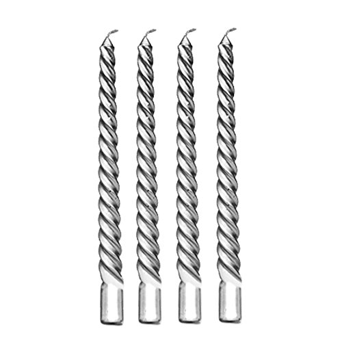 Gosear 4Pcs 8inch Taper Twisted Spiral Long Candles for Dinner Dining Table Wedding Party Home Decor Candle Silver