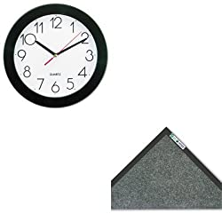KITCWNET0310CHUNV10421 - Value Kit - Crown Mats ET310CHA ECO-STEP Floor Mat, 36 x 120, Charcoal (CWNET0310CH) and Universal Round Wall Clock (UNV10421)