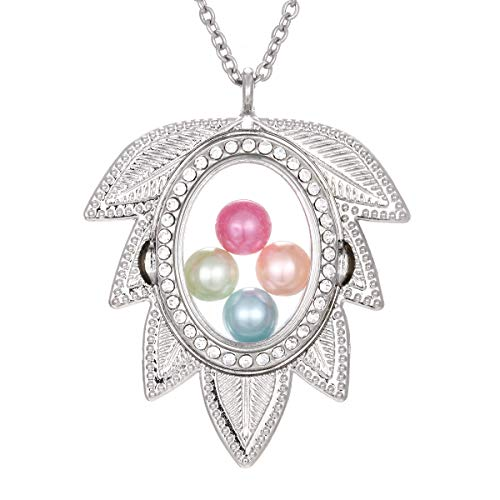 Glass Beads Leaf Pendant Necklace - ChengYu Silver Leaf Living Memory 8mm Beads Pearl Cage Glass Floating Locket Magnetic Pendant Rhinestone Necklace Gift for Her (Leaf)