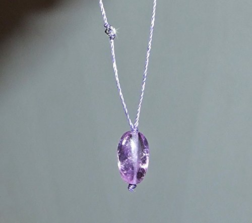 Crown Chakra Genuine Amethyst with Clear Quartz Cord Necklace, Sterling Silver Clasp