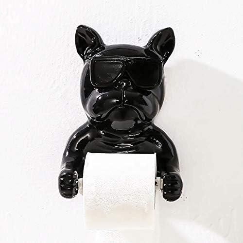 SDF25 かわいい漫画の犬の樹脂吸引トイレットペーパーロールホルダーウォールは、バスルームキッチンリビングショップホテルのためムーティ目的粘着トイレットペーパーディスペンサーをマウント (Color : Black)