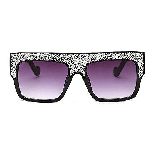 Playa al UV gafas tamaño las sol de sol Gafas vacaciones de de aire grandes de de Cuadrado conducción protección la de mujeres gran de cristal para forma Champagne la libre Blanco Color de de verano qw1CT