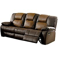 HOMES: Inside + Out IDF-6864-SF Barb Reclining Modern Fabric Sofa, Dark/Light Brown