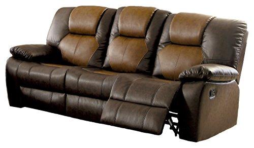 Brown Sofa Dark Convertible (HOMES: Inside + Out IDF-6864-SF Barb Reclining Modern Fabric Sofa, Dark/Light Brown)