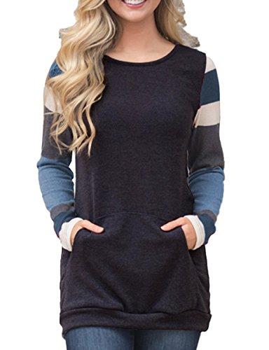 Ladylala Women's Color Block Long Sleeve Sweatshirt Tunic Tops Lightweight Kangaroo Pocket T Shirts by Black XXL (Maternity Pullover)