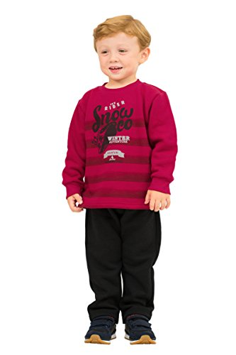 Pulla Bulla Toddler Boy Outfit Sweatshirt and Sweatpants Set 2T Cherry and ()