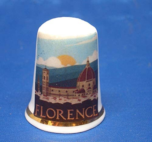 Travel Poster Florence Box Birchcroft Porcelain China Collectable Thimble