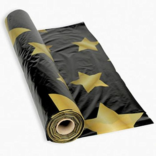 Gold Stars Black Table Roll (Hollywood Dance Theme)