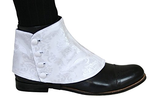 Historical Emporium Men's Premium Satin Jacquard Button Spats L White -