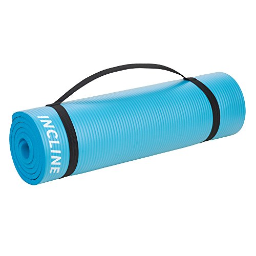 Incline Fit Exercise Mat Extra Thick & Long Comfort Foam Yoga/Exercise Mat with Carrying Strap, Marine Blue