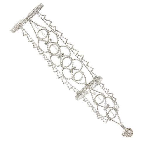 SP Sophia Collection Boho Filigree Wedding Bridal Arm Cuff Armlet Bracelet and Ring Fashion Rhinestone Body Jewelry in Silver