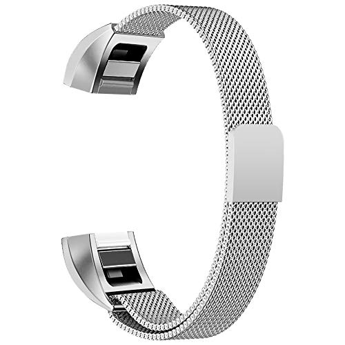 "Oitom for Fitbit Alta HR Accessory Band and for Fitbit alta Band, (2 Size) Large 6.7""-9.3"" Small 5.1""-6.7"" (8 Color) Silver Black Rose Gold Pink Blue Brown Rainbow(Large 6.7""-9.3"" Silver)"
