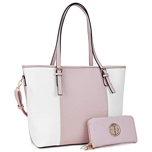 Fashion Women Signature Designer Tote Satchel Handbag Purse with Matching Wallet(33170-W-PK/WT) ()