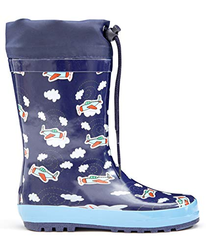 MOFEVER Toddler Boys Kids Rain Boots Rubber Waterproof Shoes Printed Lovely Blue Plane Cute Print with Easy Adjustable Tighten String (Size 10,Blue)