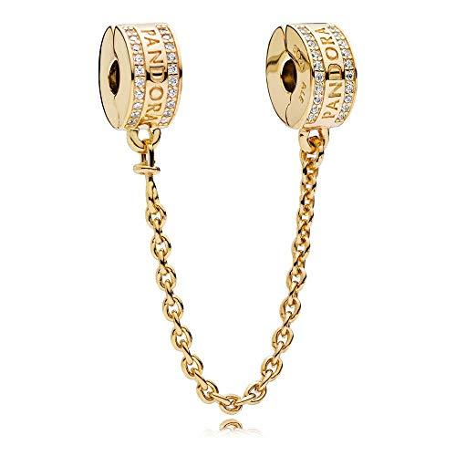 - PANDORA Logo Safety Chain 18k Gold Plated PANDORA Shine Collection Charm - 767027CZ-05