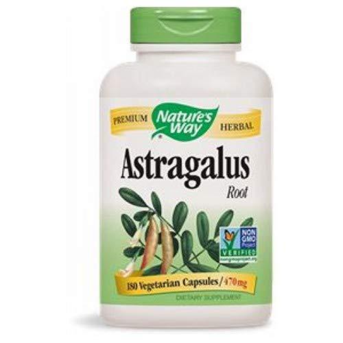 Natures Way Astragalus Root, 470 milligrams, 180 Vegetarian Capsules. Pack of 5 Bottles.