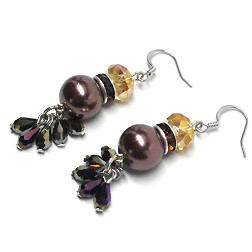 Brown Glass Pearl Rhinestone Cluster Drop Pierced Earrings ()