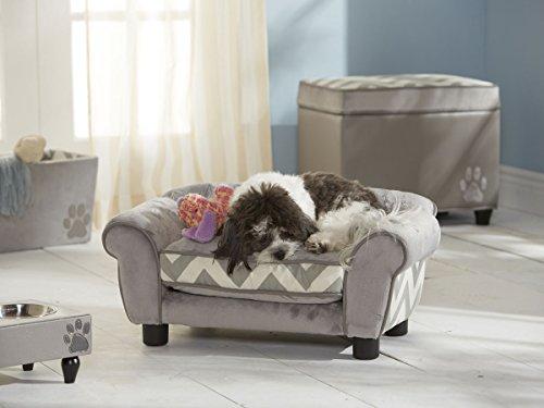 Hundesofa - Hundebett Kuschelparadies mit Aufbewahrungstasche in grau und waschbarem Kissenbezug für erholsamen, zugfreien Schlaf - Holzrahmenkonstruktion 70 cm breit