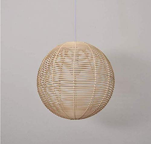 Chandelier Ceiling Lightceiling Lampshade Lighting Chandelier Wicker Rattan Ball Globe Sphere Shade Pendant Light Fixture Rustic Country Handmade Hanging Lamp for Dining Room E27 Edison Bulb