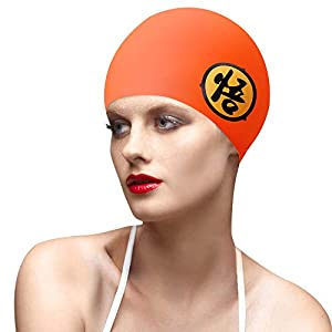 BALNEAIRE Swim Cap Women, Waterproof Swimming Caps for Women Long Hair with Chinese Printed