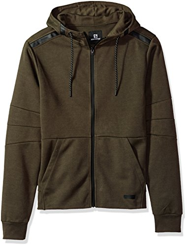 Southpole Men's Tech Fleece Hooded Tops (Full-Zip, Pullover), Olive(Ribbed Waist), (Athletic Ribbed Pullover)