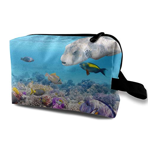 LEIJGS Turtle Coral Underwater Abstract Coral Reef Life Small Travel Toiletry Bag Super Light Toiletry Organizer for Overnight Trip Bag (Reef Life Bath)