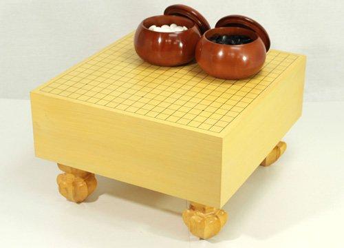 囲碁セット 5寸足付エコ碁盤セット 本蛤碁石 碁笥の商品画像
