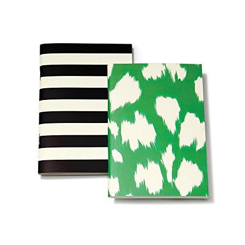 kate spade new york Notebook Set - Black Stripe/Painterly Cheetah (Ikat) Green
