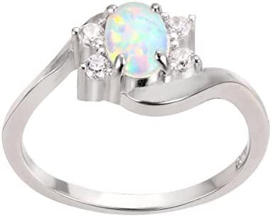 Swirl Tension Oval White Simulated Opal Ring Sterling Silver 925 (Sizes 4-13)