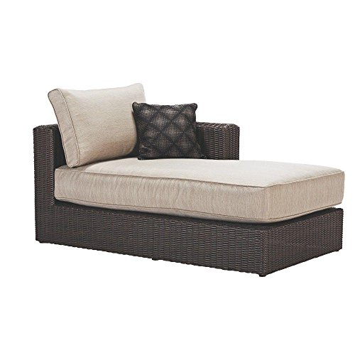 Home Decorators Collection Sectional Chaise with Putty Cushions of Naples Collection Featuring a Steel Frame and All-Weather Wicker, Brown, Perfect Addition to any Patio by Home Decorators Collection