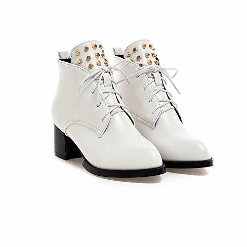 Latasa Femmes Rivets De Mode Cloutés Lacets Chunky Mi-talon Cheville Bottes Blanc