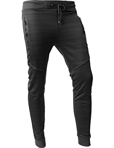 Urban Mens Hat (Hat and Beyond VW Mens Jogger Pants Biker Slim Fit Casual Fleece Active Elastic 1VWA5001-18 (Medium, P101_Black))