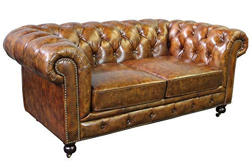 Larson Top Grain Vintage Leather Chesterfield Love Seat - Dark Brown