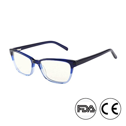 Anti Blue Light Glasses, Acetate Frame Anti Harmful Blue Ray Eyestrain Relieving (Blue)