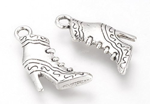 10 x Vintage Ankle Boot 3D 23mm Tibetan Silver Charms Pendants Beads