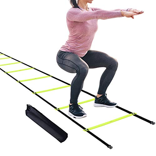 HAPDEN 12 Fixed Rungs Agility Ladder with Stakes, Footwork Equipment Speed Training Ladder for Exercise Fitness