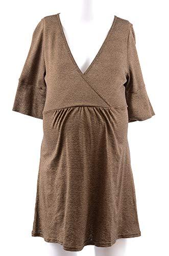 - Michael Stars Maternity Java Brown OSFA Shine Surplice Tunic t-Shirt top