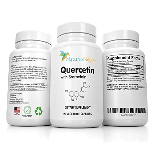 Quercetin with Bromelain Supplements - Quercetin 500mg with 100mg Bromelain per capsule - Active PK Powder Quercitin Supplements Activated Weight Loss Complex Capsules - Bromelain Quercetin Powder 120