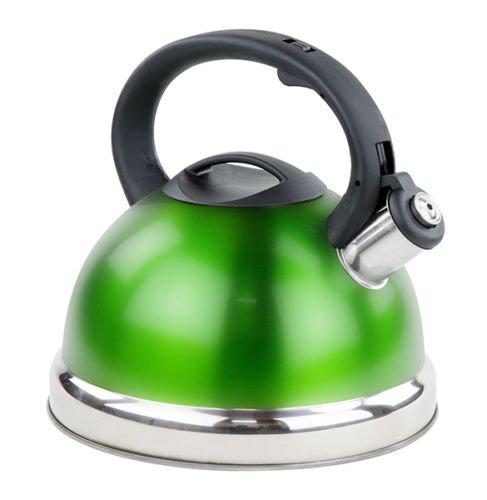 Stainless Steel Whistling Tea Kettle - Tea Maker Pot 2.8 Liters - Green