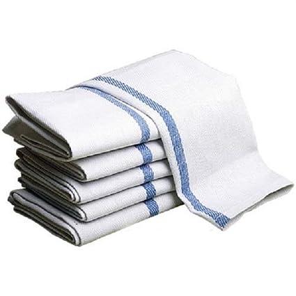 Amazon.com  Globe House Products GHP 12-Pcs White 100% Cotton Blue ... 2a1300c5b