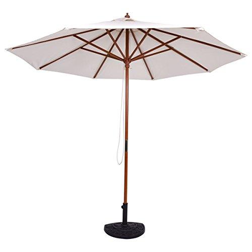 Tangkula Patio Umbrella Height Adjustable Wood Pole Outdoor Sun Shade Beige (10ft) (Team Outdoor Patio Market Umbrella)