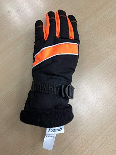 Abenteuer Mens Waterproof Gauntlet Ski Gloves Warm Gloves Winter Waterproof Cold Weather Women Gloves Thickened gloves-Black、Orange ()