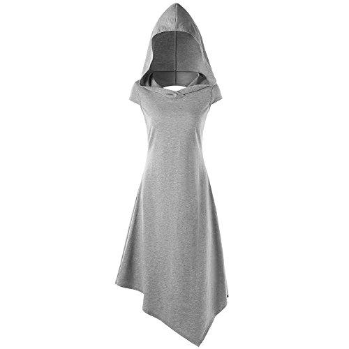 iLUGU Hooded Sleeveless Mini Dress for Women Irregular Hem Hoodies A-Line Dresses for Women Gray