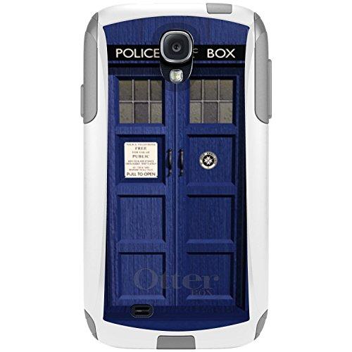 DistinctInk Case for Samsung Galaxy S4 - Custom White & Grey OtterBox Commuter - London Police Call Box Tardis (Samsung S4 Police Case)
