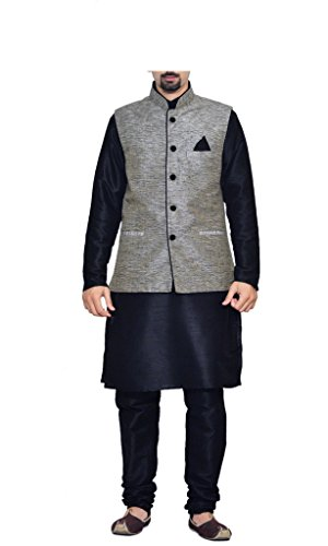 MAG Men's Nevy Matching Silk Kurta Churidhar With Joot Waistcoat 44 Nevy Blue Matching Silk Kurta Churidar With Gray Waistcoat ()
