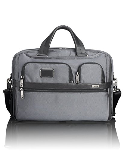 Tumi Alpha T-Pass Medium Screen Slim Brief Laptop Briefcase, Pewter, One (Tumi Computer Briefcase)