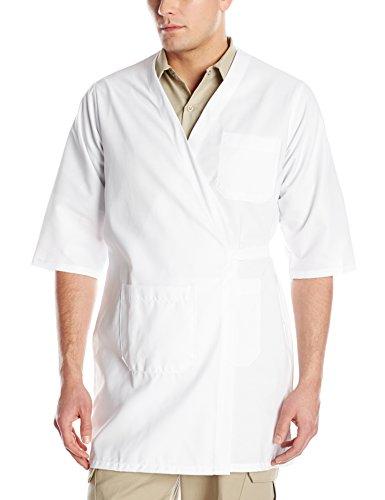 Red Kap Men's CollarleShort Sleeve Butcher Wrap, White, Large (Wrap Smock)