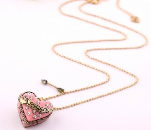 Eve S Couture Love Pink Heart Locket Pendent With A Cute