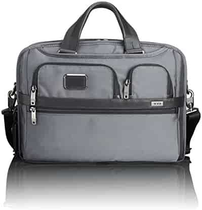 TUMI - Alpha 2 T-Pass Medium Screen Laptop Slim Brief Briefcase - 14 Inch Computer Bag for Men and Women - Pewter